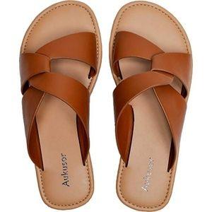 Aukusor Wide Width Summer Flat Sandals -